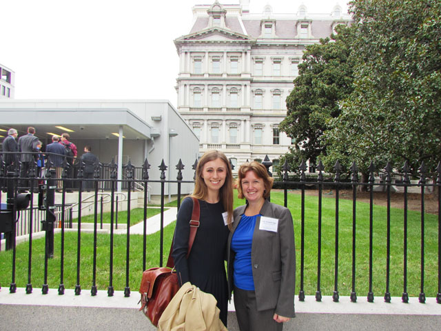 Kaleigh Johnson, a chemical engineering senior, and Amy Trowbridge, lecturer and director of the Grand Challenge Scholars Program, represented ASU at a national meeting hosted by the National Academy of Engineering. It included a session at the White House's Eisenhower Executive Office Building. Photo courtesy of Kaleigh Johnson